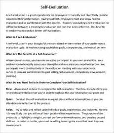 Student Self Evaluation Templates by Self Evaluation 7 Free Documents In Pdf