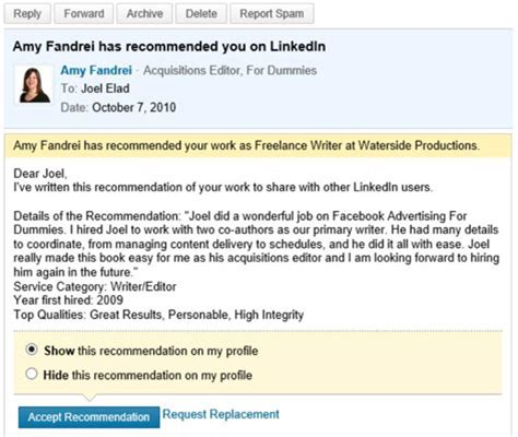 Recommendation Letter Linkedin How To Manage Linkedin Recommendations You Ve Received Dummies