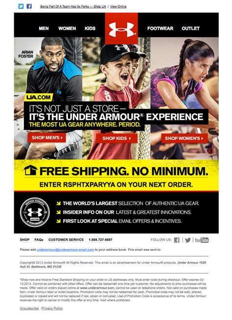 email format under armour offer based emails html email gallery