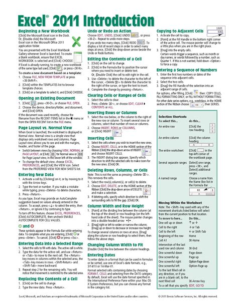 Excel 2011 For Mac Introduction Quick Reference Guide