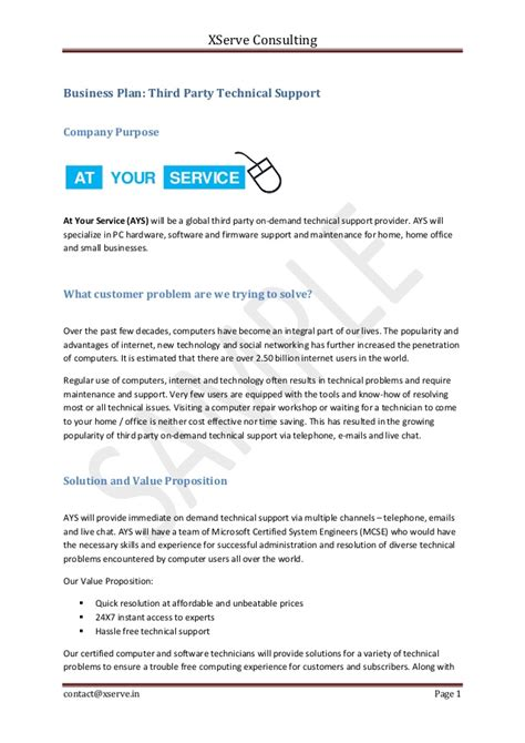 technical support plan template business plan sle