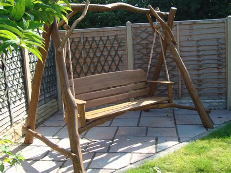 oak swing seat rustic oak 3 seater memorial swing seat