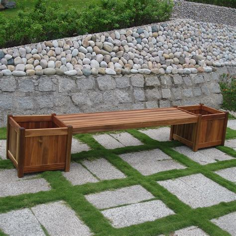 cedar planter bench backless wooden benches landscape timber bench with