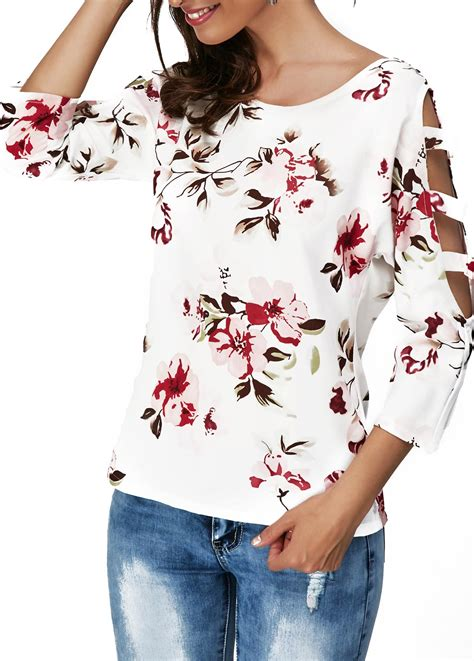 Flower Sleeve T Shirt flower print neck cutout sleeve t shirt liligal