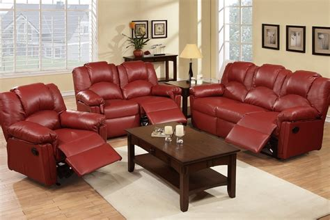 Leather Rocker Recliner Loveseat by 3pc Montclair Burgundy Bonded Leather Rocker Recliner