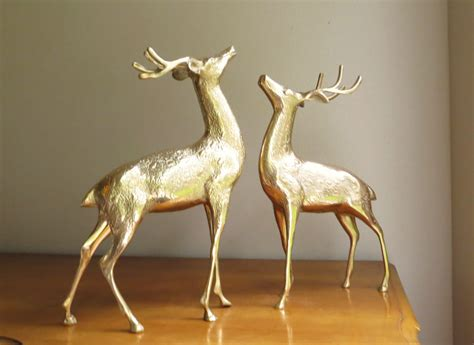 vintage large brass deer figurines buck pair deer family