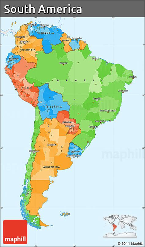 south america map colored free political simple map of south america single color
