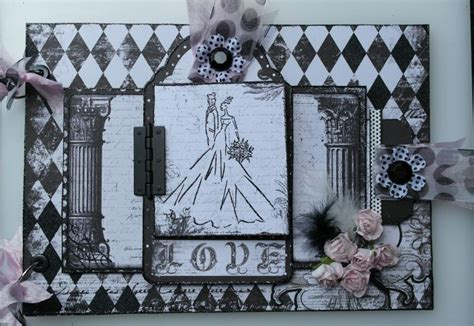 Handmade Wedding Albums Uk - ooak handmade vintage black white pink wedding a4 photo