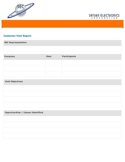 Customer Visit Report Format Templates customer visit form