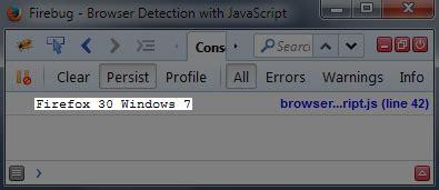 firebug console log browser detection javascript determine user preference