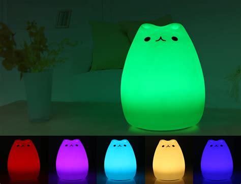 usb cat night light generic color changing silicone cat night light bedside