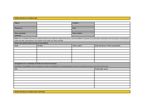 construction health and safety plan template construction safety plan template templates collections