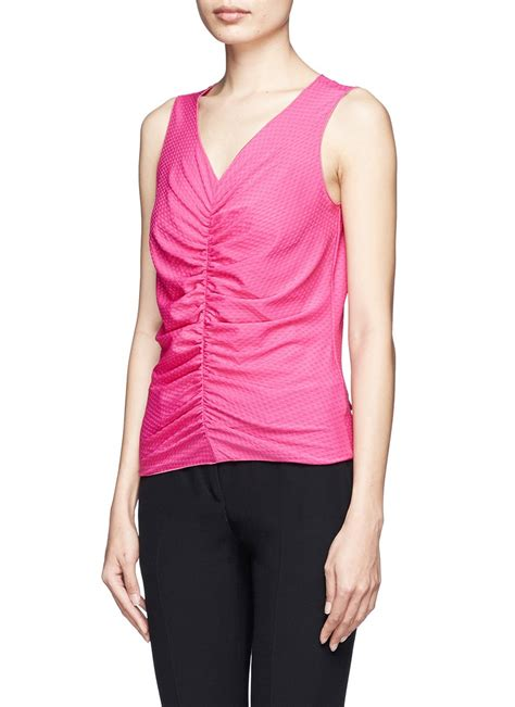 Gathered Top lyst armani front gathered top in pink