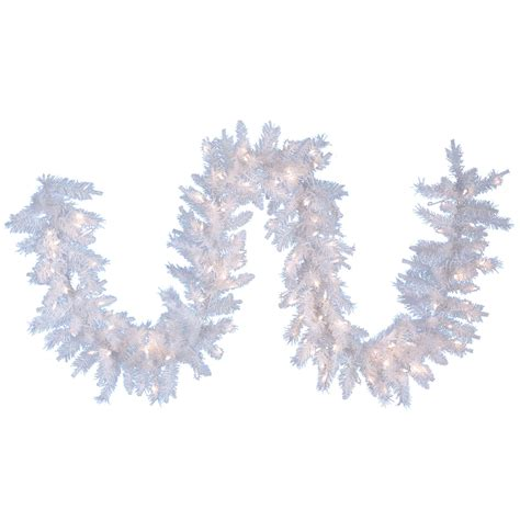 kurt adler 9 pre lit crystal white christmas garland