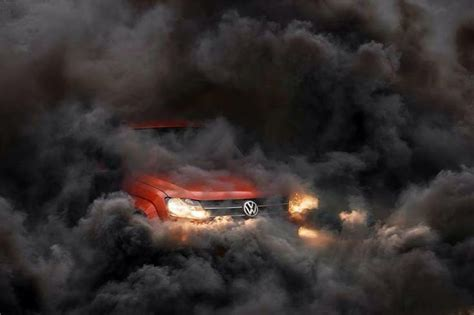 volkswagen diesel smoke this amarok in a cloud of smoke looks sinister vw