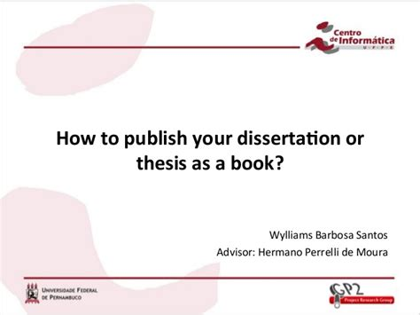 publishing your dissertation how to publish your thesis or dissertation as a book