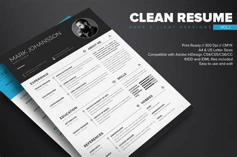 Clean Resume Template by Clean Indesign Resume Template Dealjumbo