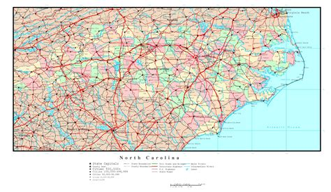 carolina road map with cities large detailed administrative map of carolina state