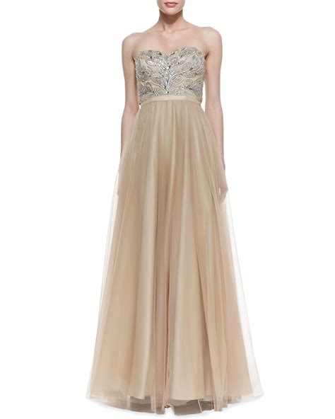 gold beaded gown aidan mattox strapless beaded bodice gown in gold lyst