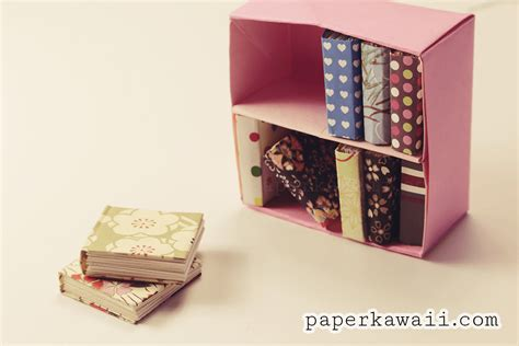 modular origami bookcase tutorial paper kawaii
