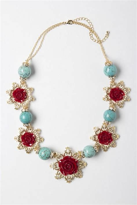 Handmade Necklaces - floral handmade necklace with turquoise details