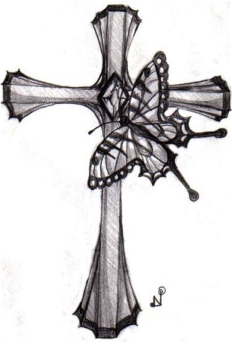 63 gorgeous cross tattoo designs gorgeous butterfly and cross design picture
