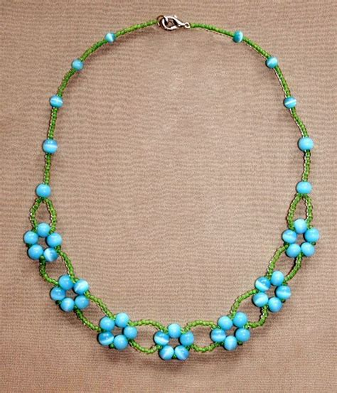 necklace pattern pinterest free pattern for beaded necklace blue flowers click on