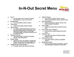 secret menu in n out secret menu x