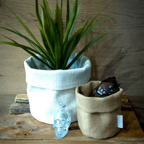 Indoor Pots And Planters by White Hessian Fabric Storage Bags Modern Indoor Pots