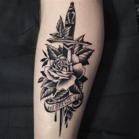 italian rose tattoo by juddbowman dagger traditional black
