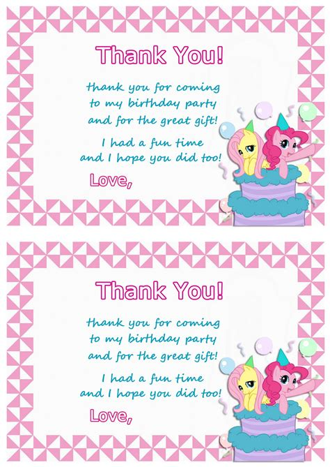 my little pony printable thank you cards my little pony thank you cards birthday printable