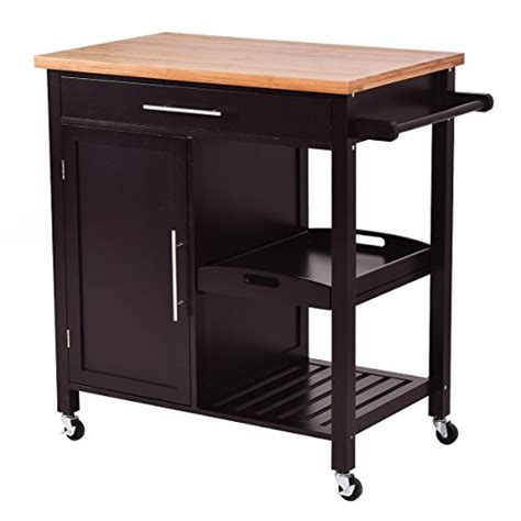 wood kitchen island cart giantex rolling wood kitchen island trolley cart bamboo top storage cabinet utility