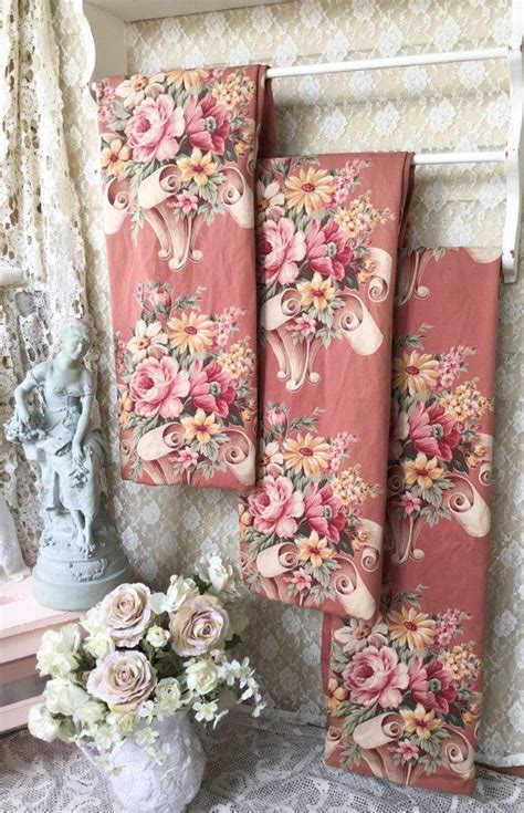 english floral curtains vintage 1930s puritan bark cloth curtain panel shabby