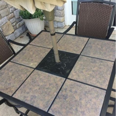 tile top patio table and chairs tile top patio table 4 swivel chairs umbrella and