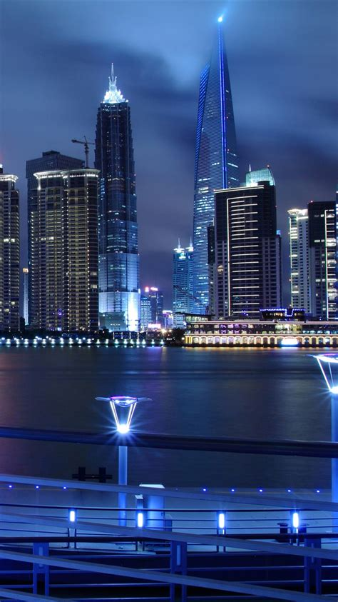 china shanghai edificios luces noche iphone