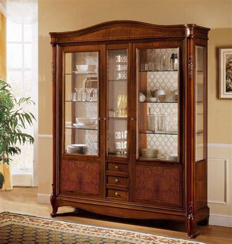 luxurious wooden carving showcase cabinet using clear classic display cabinet with 3 doors and 3 drawers with