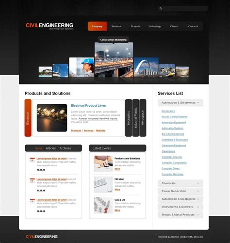 free templates for engineering website civil engineering joomla template web design templates