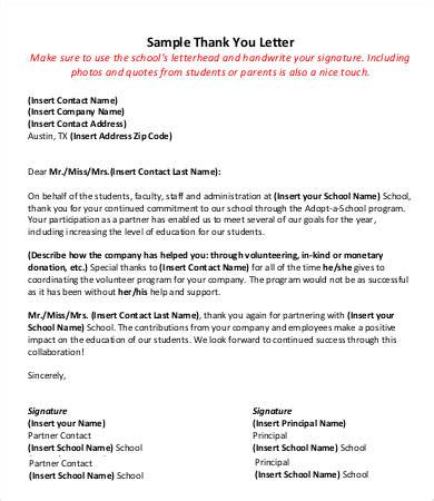 thank you letter to from principal thank you letter 9 free sle exle format
