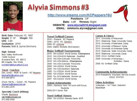 college recruiting profile template softball profiles templates images