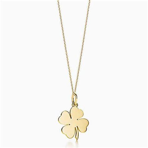 cadenas de oro para mujer con dije de corazon dije de tr 233 bol de cuatro hojas en oro de 18k en una