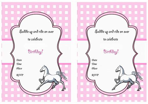 printable birthday invitations horse theme horse birthday invitations birthday printable
