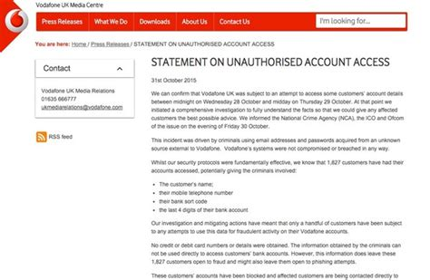 vodafone mobile account login some vodafone customer accounts breached risk of fraud