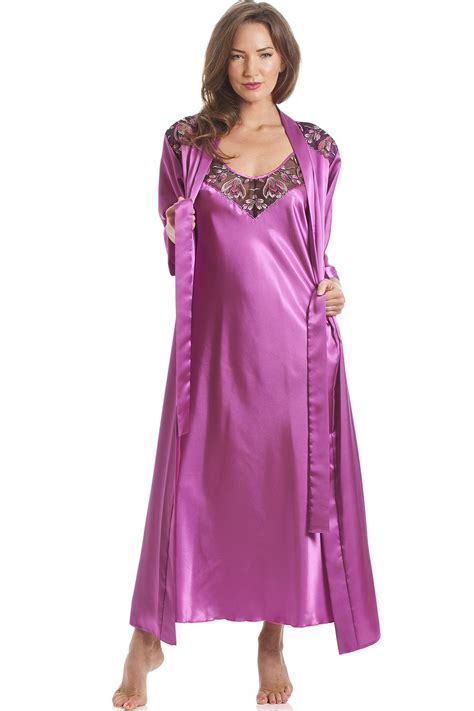 pink luxury luxury satin pink long wrap and chemise set