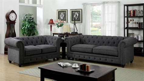 Living Room Furniture Grey Stanford Gray Fabric Living Room Set Cm6269gy Sf Furniture Of America