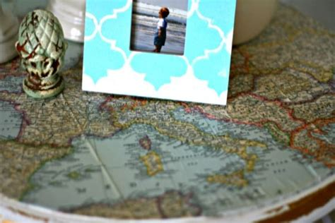 decoupage ideas vintage map table top