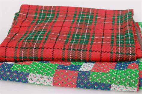 Tartan Patchwork Quilt - 70s 80s vintage poly knit fabric tartan