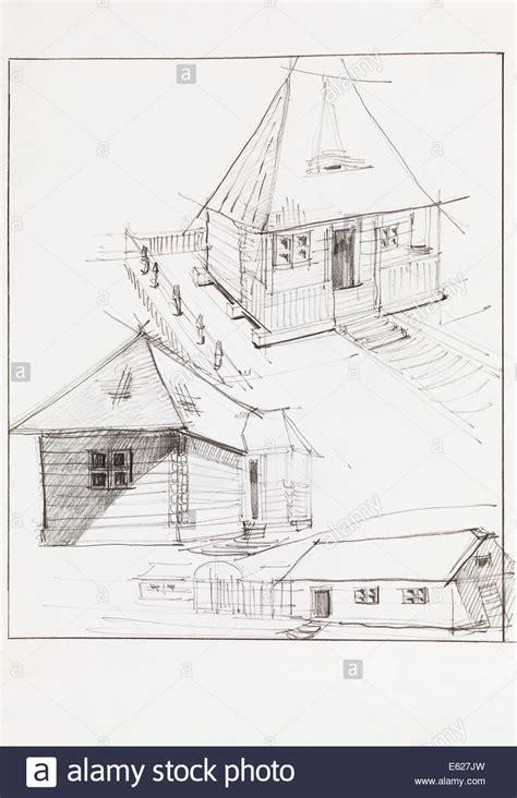 scheune gezeichnet drawing architectural perspective house stockfotos