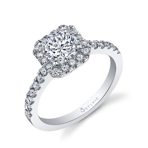 halo cut square engagement ring by sylvie