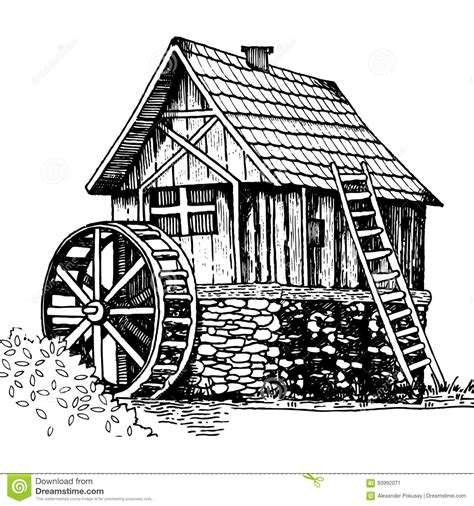 water mill coloring page old water mill engraving style vector illustration stock