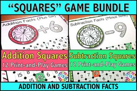 addition and subtraction squares games bundle games 4 gains